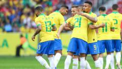 Indosport - Selebrasi Gabriel Jesus dan rekan-rekan setimnya saat pertandingan persahabatan Brasil vs Honduras. (Foto: Lucas Uebel/Getty Images)