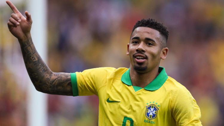 Gabriel Jesus merayakan gol keduanya dalam pesta kemenangan Brasil vs Honduras. (Foto: Buda Mendes/Getty Images) Copyright: Buda Mendes/Getty Images