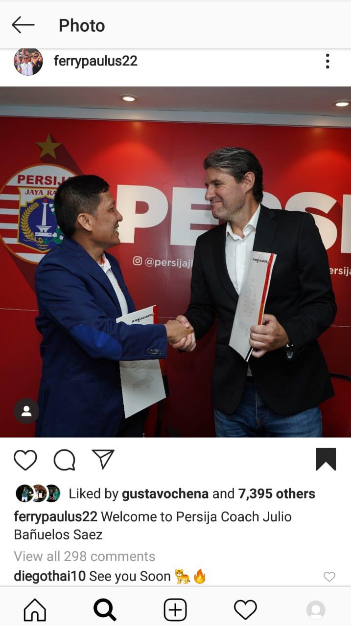 Bintang Liga Thailand mengomentari unggahan CEO Persija, Ferry Paulus. Copyright: https://www.instagram.com/ferrypaulus22/