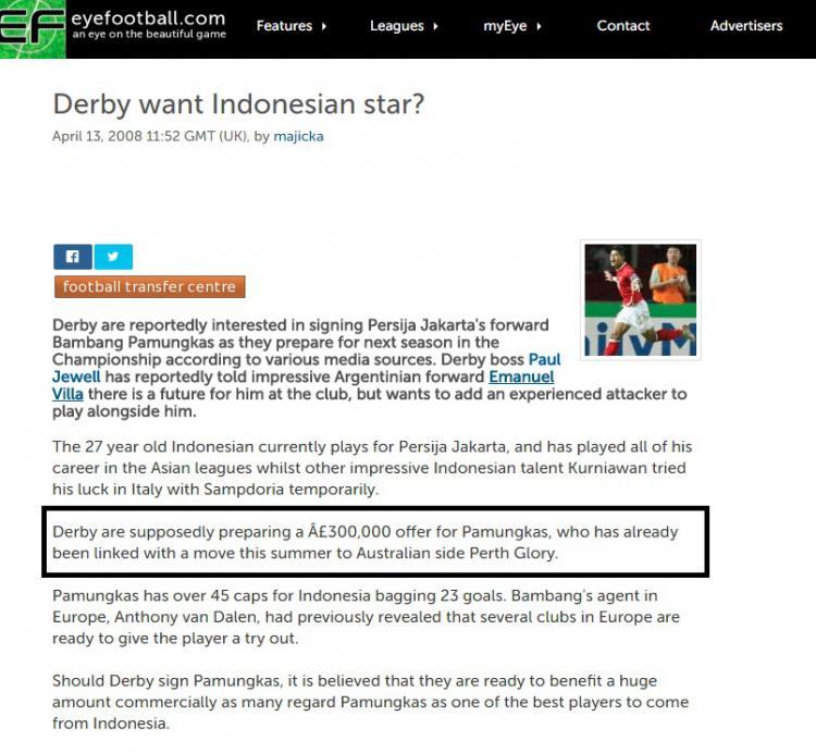 Derby Country yang dikabarkan berminat mendatangkan Bambang Pamungkas Copyright: eyefootball.com