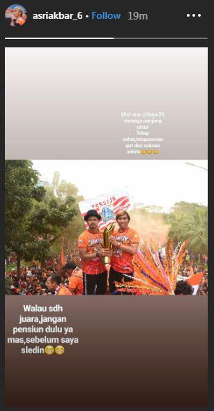 Pesan Asri Akbar di hari ulang tahun Bambang Pamungkas Copyright: Instagram/Asriakbar_6