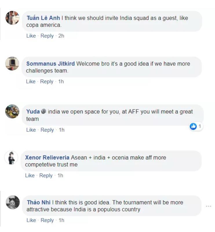 Netizen mendukung Timnas India masuk federasi AFF bersama Timnas Indonesia Copyright: Fox Sports Asia