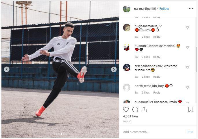 Akun Instagram Gabriel Martinelli yang dipenuhi komentar netizen bersifat sambutan datang ke Arsenal Copyright: instagram.com/ga_martinelli01