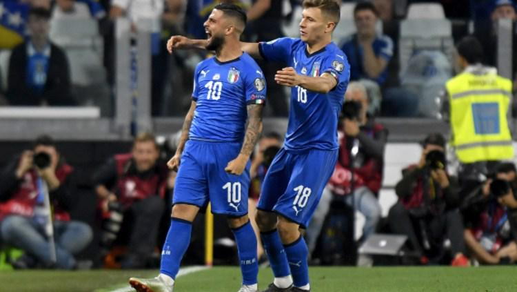 Lorenzo Insigne melakukan selebrasi usai mencetak gol di pertandingan Timnas Italia vs Bosnia di Kualifikasi Euro 2020. (Foto: Filippo Alfero/Getty Images) Copyright: Filippo Alfero/Getty Images
