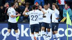 Indosport - Selebrasi para pemain Prancis
