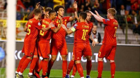 Selebrasi kemenangan dari para pemain Belgia, Jimmy Bolcina / Photonews via Getty Images - INDOSPORT