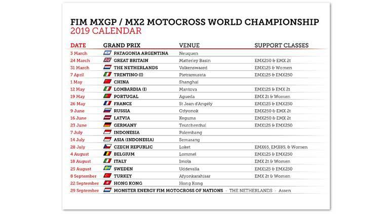 Kalender baru untuk kompetisi MXGP 2019. Copyright: www.mxgp.com