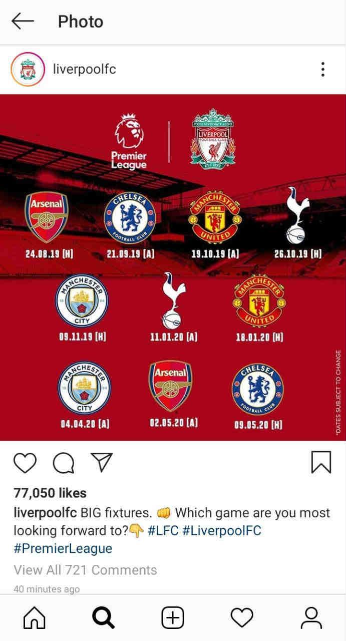 Jadwal pertandingan Liverpool di Premier League. Copyright: Instagram/Liverpool