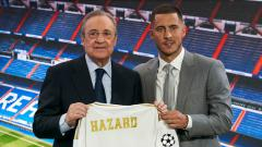 Indosport - Eden Hazard saat diperkenalkan Real Madrid, Quality Sport Images/Getty Images