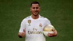 Eden Hazard saat diperkenalkan oleh Real Madrid.