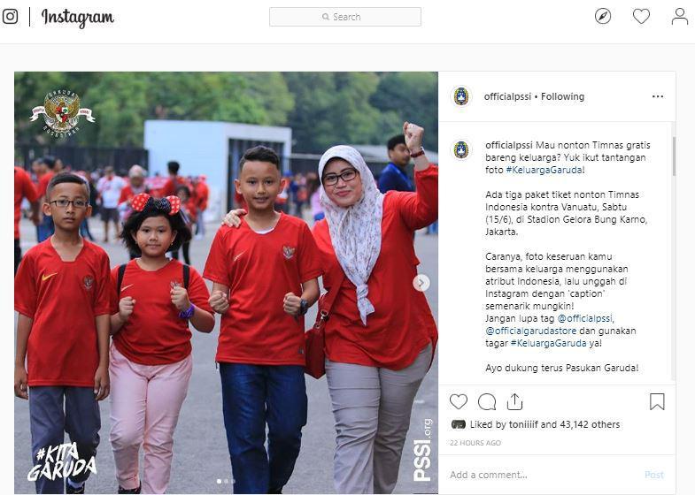 PSSI infokan tiket gratis laga Indonesia vs Vanuatu di Instagram resminya Copyright: instagram.com/officialpssi