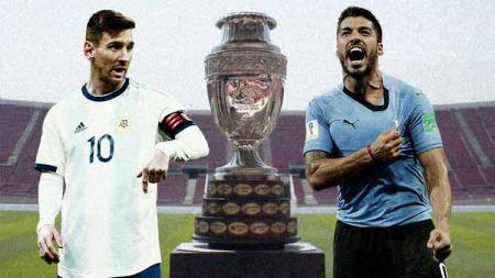 Lionel Messi dan Luis Suarez ketika membela Argentina dan Uruguay. - INDOSPORT