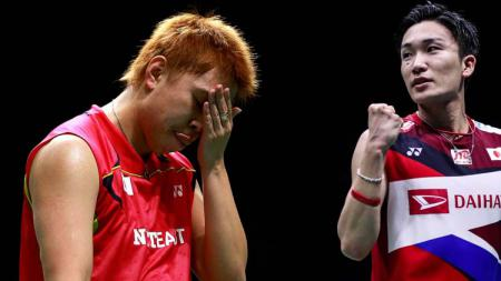 Kento Momota (kiri) dan Kenichi Tago (kanan). - INDOSPORT