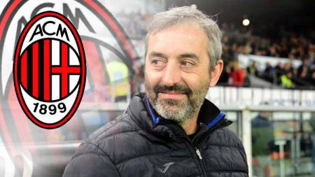 Marco Giampaolo dan logo AC Milan - INDOSPORT