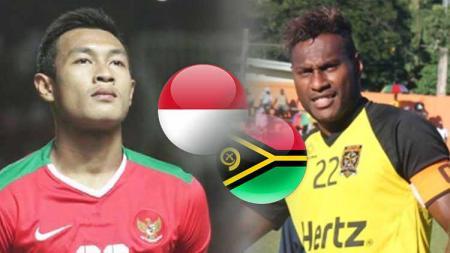 Persaingan dua bek, pemain Timnas Indonesia Hansamu Yama Pranata dan pemain Vanuatu, Brian Kaltack. Foto: bolastylo.bolasport/vbtc.vu - INDOSPORT