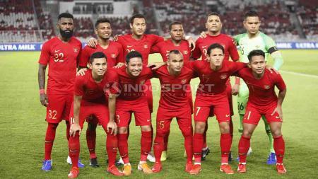 Skuat Timnas Indonesia Senior saat melawan Vanuatu dalam laga ujicoba di Stadion Utama Gelora Bung Karno, Sabtu (15/06/19). Foto Herry Ibrahim - INDOSPORT