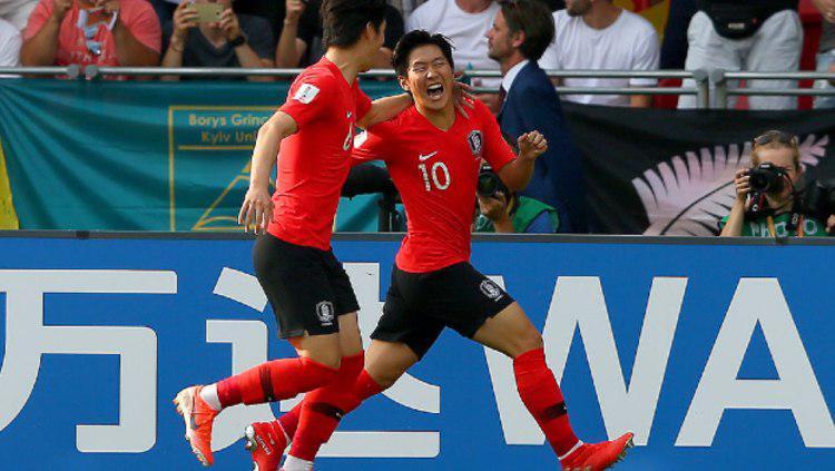 Lee Kang-in merayakan golnya untuk Korea Selatan di pertandingan final Piala Dunia U-20 2019. (Foto: Alex Livesey - FIFA/FIFA via Getty Images) Copyright: Alex Livesey - FIFA/FIFA via Getty Images