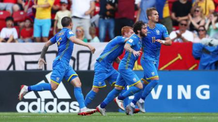 Para pemain Ukraina merayakan gol ke gawang Korea Selatan di pertandingan final Piala Dunia U-20 2019. (Foto: Lars Baron - FIFA/FIFA via Getty Images) - INDOSPORT