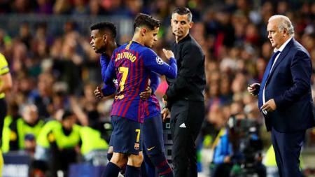 Nelson Semedo saat menggantikan Philippe Coutinho dalam pertandingan Barcelona - INDOSPORT