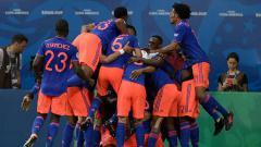 Indosport - Selebrasi pemain Kolombia pada pertandingan Copa America 2019, Brasil, Kamis (20/06/2019). Foto: JUAN MABROMATA/AFP/Getty Images