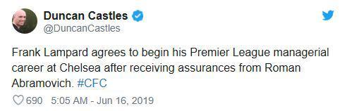Seorang jurnalis bernama Duncan Castles menyebut Frank Lampard sudah setuju menukangi Chelsea. Copyright: Twitter @DuncanCastles