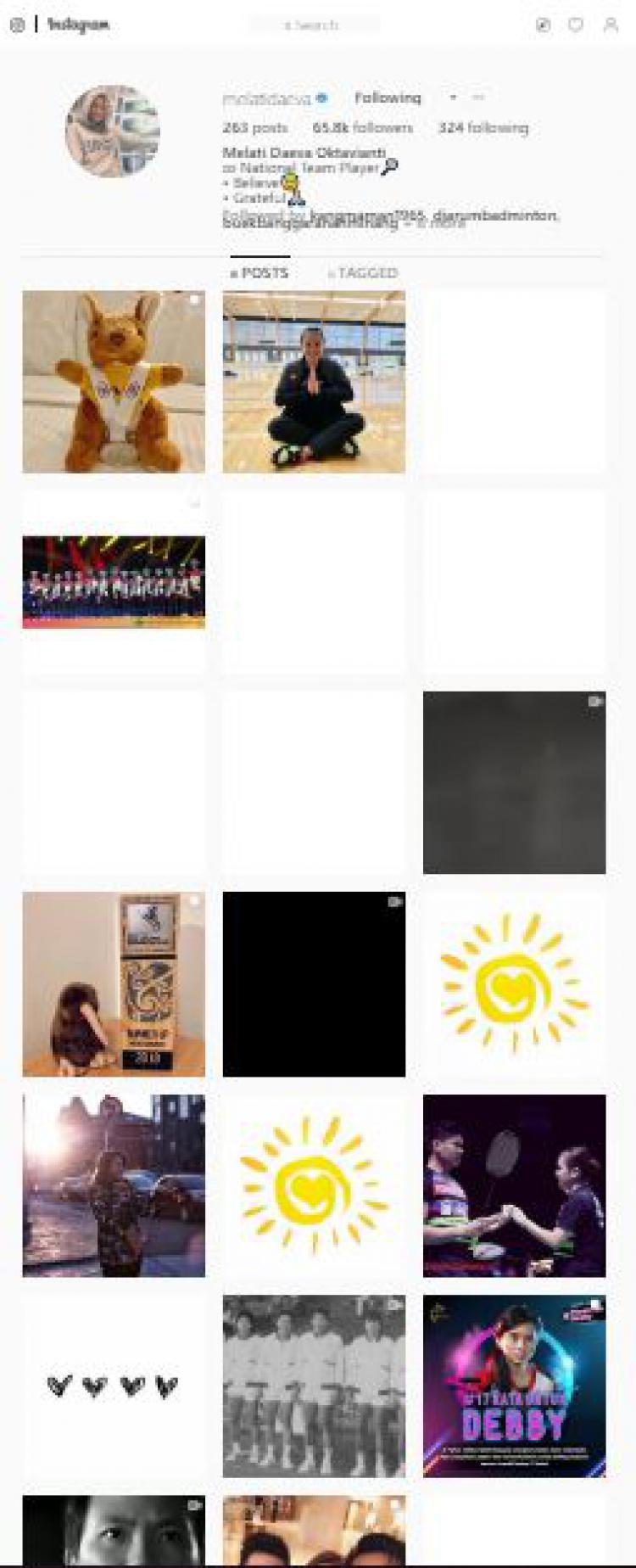 Tampilan Instagram Melati Daeva yang sudah tidak terlihat lagi postingan dirinya bersama Angga Pratama Copyright: instagram.com/melatidaeva