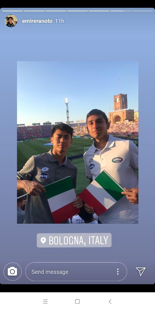 Wonderkid asal Indonesia, Emir Eranoto tonton laga Italia vs Spanyol di Euro U-21 2019 Copyright: Instagram/Emir Eranoto
