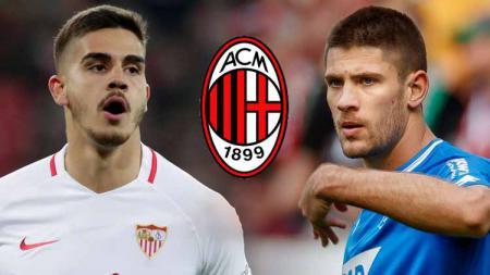 Andre Silva, Andrej Kramaric dan logo AC Milan - INDOSPORT