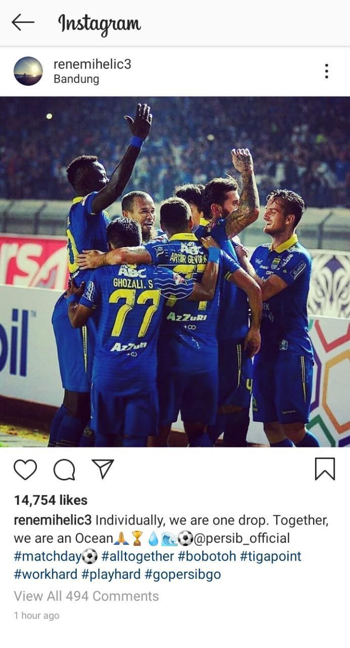 Rene Mihelic memberkan sebuah pesan yang membara jelang laga Persib vs Tira Persikabo Copyright: instagram.com/renemihelic3