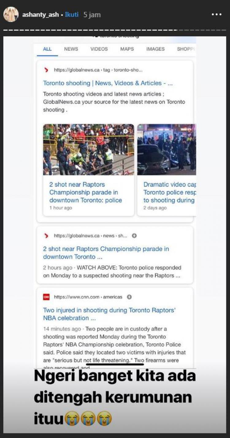 Ashanty terkejut saat melihat berita penembakan terjadi di rute perayaan Toronto Raptors Copyright: instagram.com/ashanty_ash
