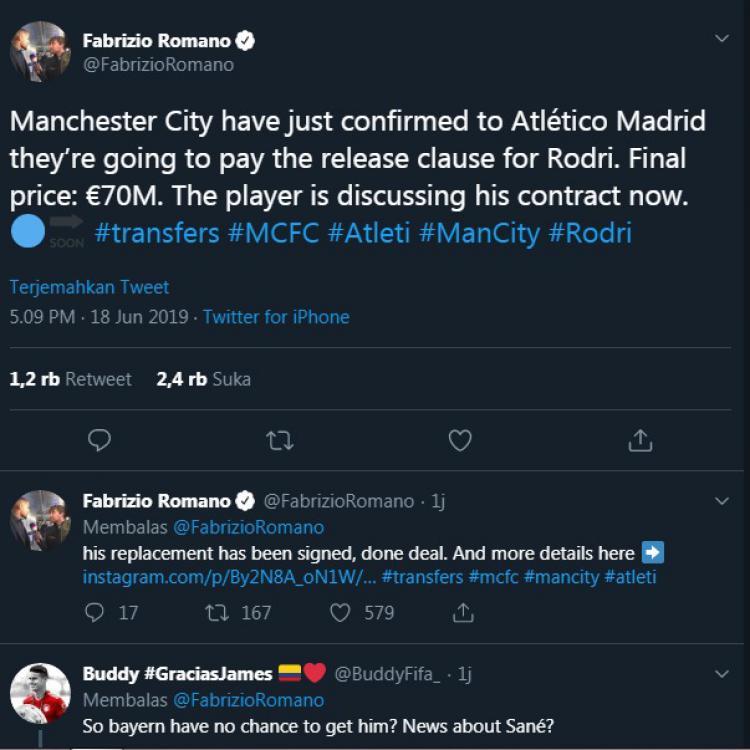 Fabrizio Romano, jurnalis kawakan asal Italia mengonfirmasi akan pemain baru Manchester City, Rodrigo Copyright: twitter.com/FabrizioRomano
