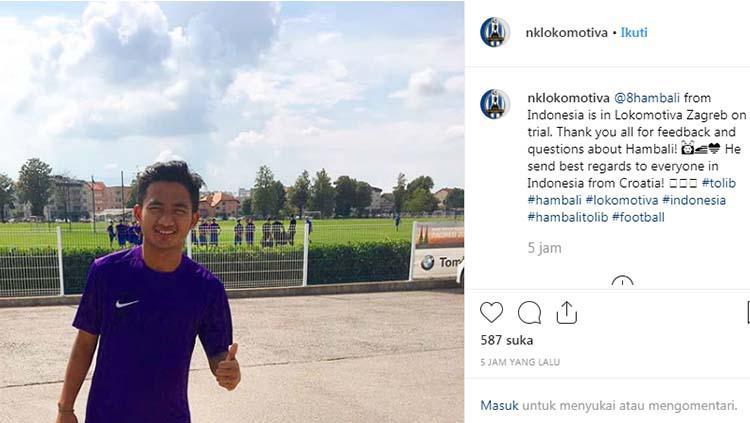 Bintang muda Persela Lamongan Muhammad Hambali Tolib diperkenalkan NK Lokomotiva Zagreb. Copyright: Instagram/@nklokomotiva