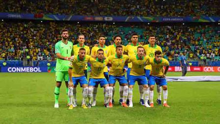 Skuat timnas Brasil dalam laga Copa America 2019 fase grup di Arena Fonte Nova, Rabu (19/06/19).