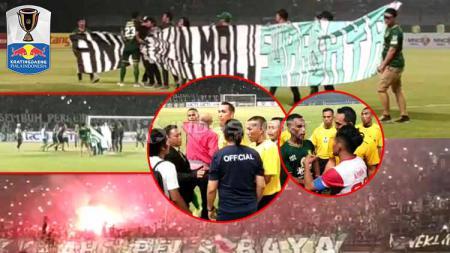 Pertandingan Piala Indonesia Persebaya vs Madura United di tunda karena suporter menyalakan flare dan kembang api serta masuk lapangan dengan membawa spanduk bertuliskan Jangan Bikin Malu Surabaya, Rabu (19/06/2019). Foto: Fitra Herdian/INDOSPORT - INDOSPORT