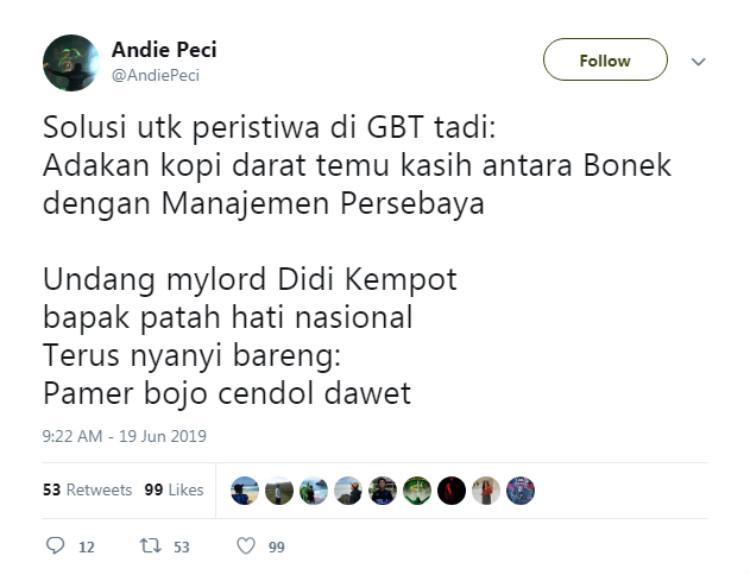 Pentolan Bonek Andie Peci turut berkomentar terkait laga Persebaya vs Madura United di Kratingdaeng Piala Indonesia 2018/2019 berakhir ricuh, Rabu (19/06/19). Copyright: Twitter/@AndiePeci
