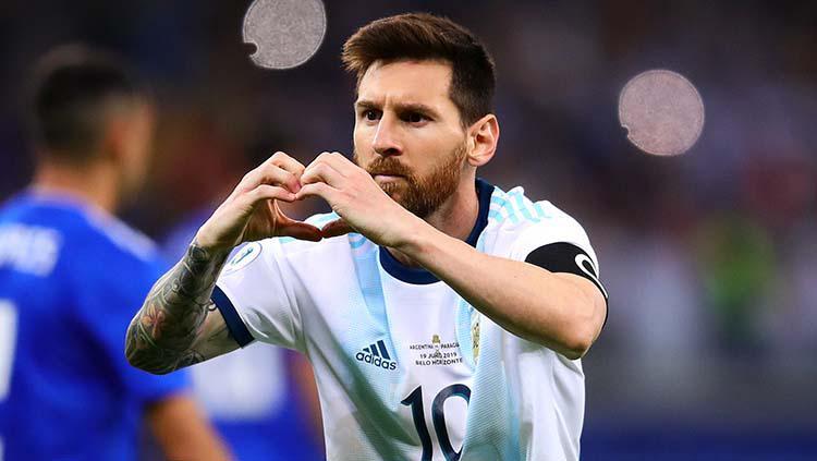 Selebrasi Messi di Copa America 2019, Kamis (20/06/19). Copyright: Chris Brunskill/Fantasista/Getty Images