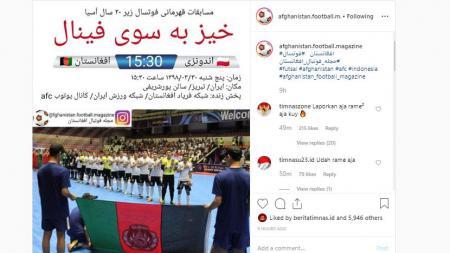 Bendera Indonesia yang terpasang terbalik di akun fans Afganistan. - INDOSPORT