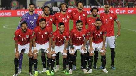 Skuat Timnas Mesir pada laga pembuka Piala Afrika melawan Zimbabwe di Cairo International Stadium, Sabtu (22/06/19).