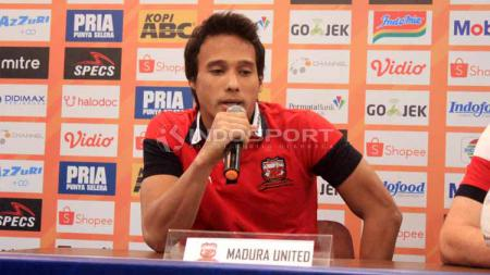 Muhammad Ridho mengusung motivasi secara khusus jelang pertemuan Madura United vs Persipura Jayapura dalam Shopee Liga 1 2019. - INDOSPORT