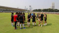 Indosport - Suasana latihan pemain PSM Makassar jelang laga menghadapi Becamex Binh Duong.