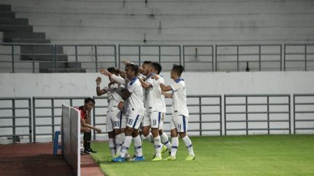 Selebrasi gol PSIM Yogyakarta dalam laga melawan Persiba Balikpapan, Sabtu (22/6/19). - INDOSPORT
