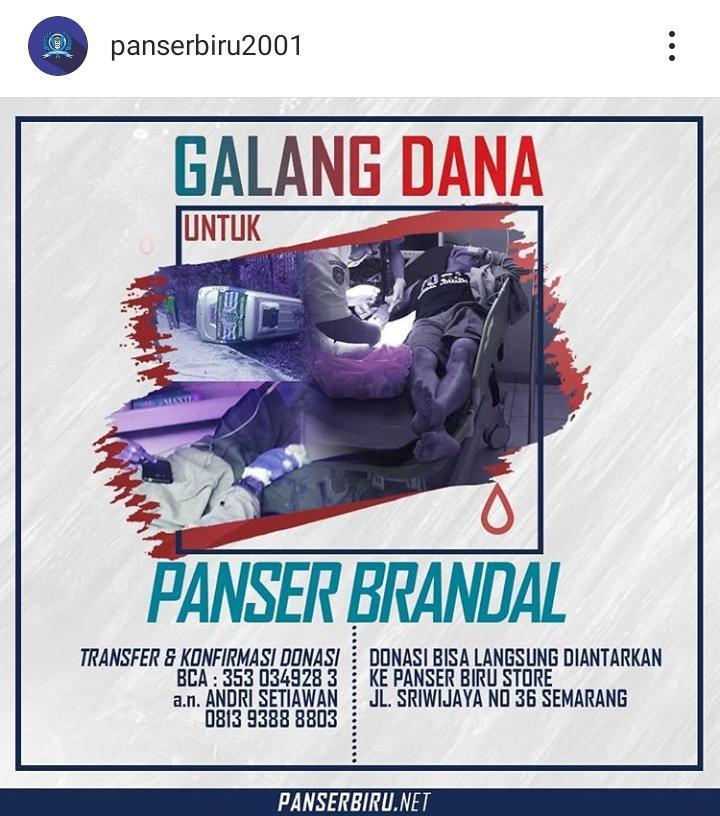 Panser Biru menggalang dana usai anggotanya kecelakaan di Situbondo. Copyright: Instagram/panserbiru2001
