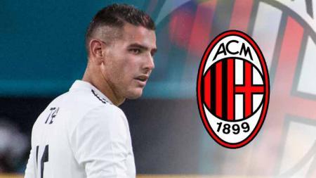 Theo Hernandez dan logo AC Milan. - INDOSPORT