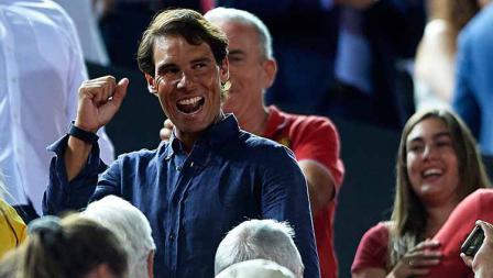 Rafael Nadal ikut jadi saksi mata kemenangan RCD Mallorca dan promosi La Liga Spanyol di Iberostar Stadium.