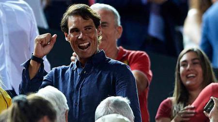 Rafael Nadal ikut jadi saksi mata kemenangan RCD Mallorca dan promosi La Liga Spanyol di Iberostar Stadium. - INDOSPORT
