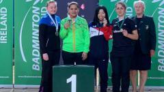 Indosport - Leani Ratri Oktila meraih medali emas di Ireland Para-Badminton International.