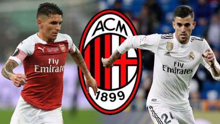 Lucas Torreira, Daniel Ceballos dan logo AC Milan. - INDOSPORT