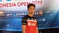 Indosport - Kevin Sanjaya Sukamuljo dalam jumpa pers persiapan digelarnya Indonesia open 2019 di Istora Senayan.