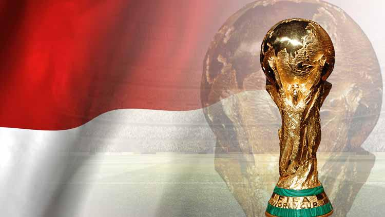 Bendera Indoesia dan trofi Piala Dunia Copyright: TrackMaven/Pinterest
