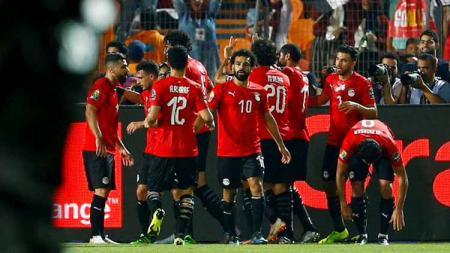 Mohamed Salah merayakan gol di Piala Afrika 2019, Kamis (27/06/19). - INDOSPORT
